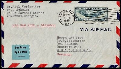 WWII USA- GERMANY Cover Opened By Censor Franked Savannah 26/12/1939 To Munchen
