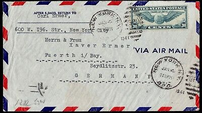 WWII USA- GERMANY Cover Opened By Censor Franked NY 4/1/1941 To Berlin Seydlitz.