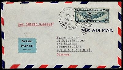 WWII USA- GERMANY Per Dixie Clipper Cover Op. By Censor: NY 9/12/1939 To Munchen