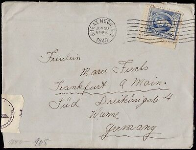 WWII USA- GERMANY 1940 Cover Opened By Censor Franked Great Neck NY To Wanne