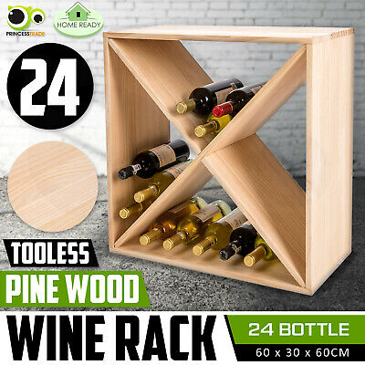 24 Bottle Timber Wine Rack Wooden Storage System Cellar Organiser Stand Display