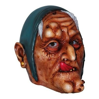OLD WITCH YELLOW TEETH DESIGN SCARY FACE HALLOWEEN FULL FACE MASK FANCY DRESS