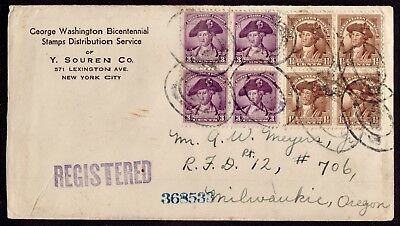 Usa 1932. G.washington Bi.cent. Stamps Distr. From Ny To Milwaukee Fine Cover