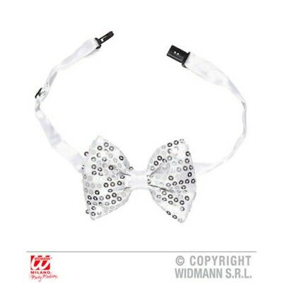 Silver Sequin LED Lights Bow Tie - Clown 4 Flashing Adjustable Decoration