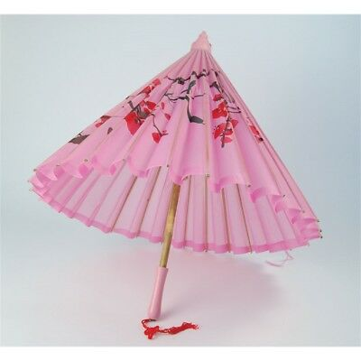 Pink Silk Parasol With Wooden Handle - Oriental Accessory