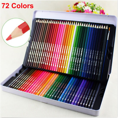 72 Colored Pencils Premium Art Drawing Water Sketching Soft Core Lead With Case