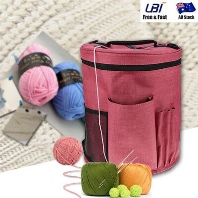 Canvas Large Cylinder Tote Bag Crochet Knitting Wool Yarn Storage Bag Organizer