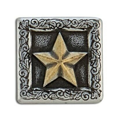 "1"" Silver & Gold 3d Square Star Concho - 3-d 1"" Screwback Tandy Leather Craft"