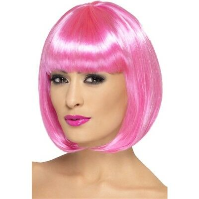 Smiffy's 12-inch Partyrama Wig Short Bob With Fringe - Pink - Fancy Dress