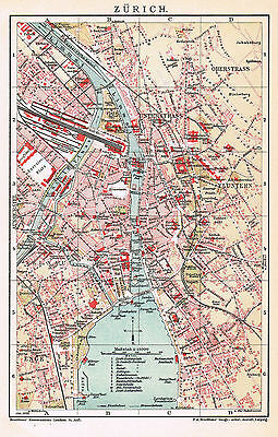 Zürich Stadtplan 1909 - Züri - Fluntern - Zurigo - Zurich ancient city map