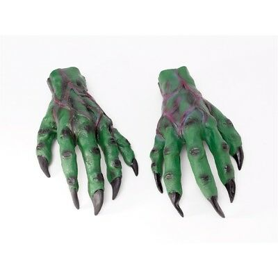 Green Monster Alien Hands - Halloween Fancy Dress Horror Accessory Red Zombie