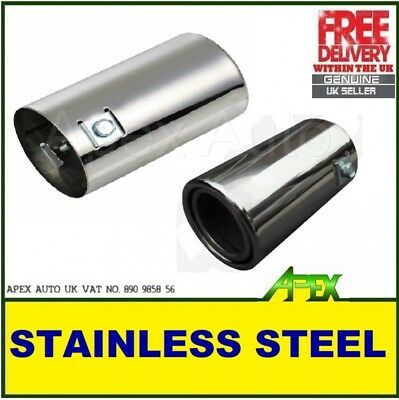 Stainless Steel Custom Silver Exhaust Muffler Outlet Tip Pipe Ø 35-58mm