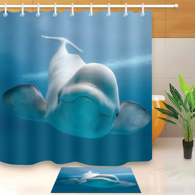 Waterproof Fabric Cute Little White Whale Bathroom Mat Shower Curtain Liner Hook