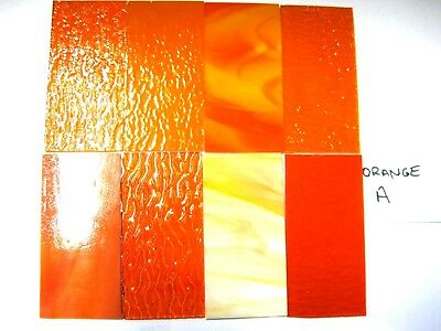 8 ORANGE Stained Glass Hobby Sheets 100mm x 50mm x 3m  Quality Craft Items LOT A