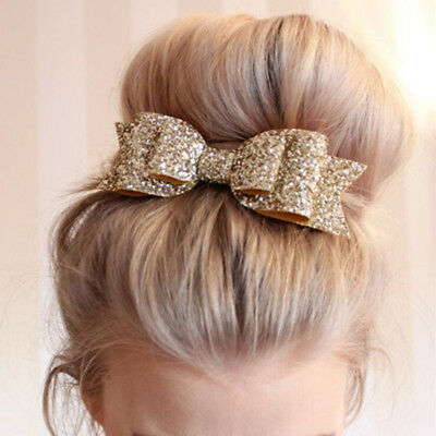 New Women Girl Sequined Glitter Hairpin Bowknot Barrette  Hair Clip Bow Gift