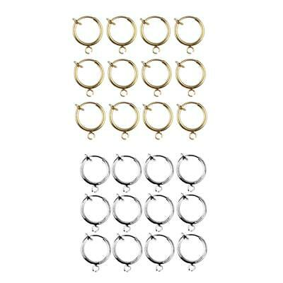 24pcs Fake Nose Lip Hoop Ear Clip Ring Earrings Gold Silver Body Piercing