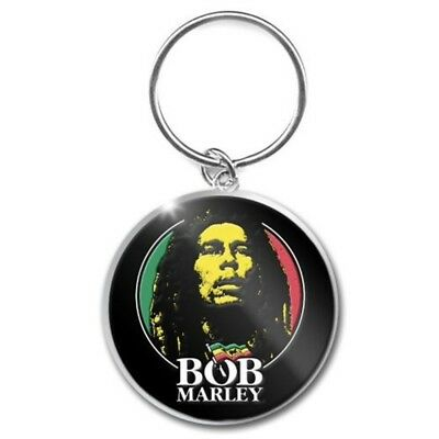 Bob Marley Logo Face - Metal Keyring Fob Brand New 4cm Picture Flag Black
