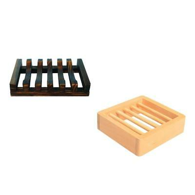Set 2pcs Wooden Soap Dish Handmade Bar Soap Tray Holder for Bathroom Kitchen