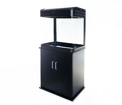 Aquarium Fish Tank with Cabinet - 90L Glass SMD LED Black White Pump Filter