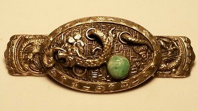 Vintage Jewelry Oriental dragon brooch silver Jade High Relief detail