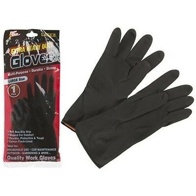 1 Pair Of Extra Heavy Duty Black Latex Rubber Durable, Strong Gloves, - Gloves