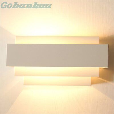 Contemporary Indoor Up & Down Wall Light Curved White Square Lighting WO