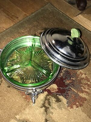 Art Deco Covered chrome Candy dish With green depression glass Insert UNUSUAL!!