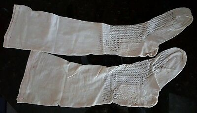 Antique Victorian Stockings White With Red Knit AAFA Primitive