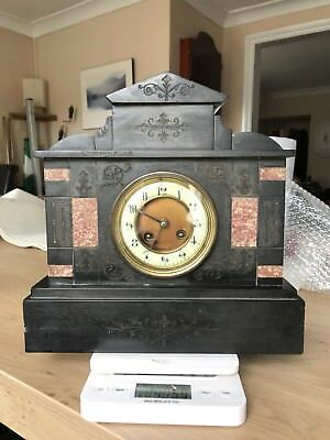 vintage ANTIQUE FRENCH JAPY FRERES  MANTLE CLOCK  MARBLE AND SLATE