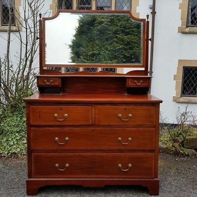 A Beautiful Antique Edwardian Era Inlaid Dressing Chest/Table & Mirror to Top