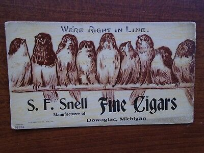 VINTAGE CIGAR Ink Blotter DOWAGIAC MICHIGAN S. F. SNELL FINE CIGARS ~ BIRDS