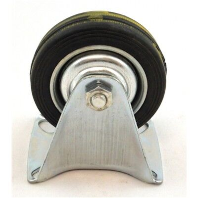 """3"""" Toolzone Fixed Castor - 3 Rm006 Wheels 75mm Rubber Trolley Furniture Caster"""