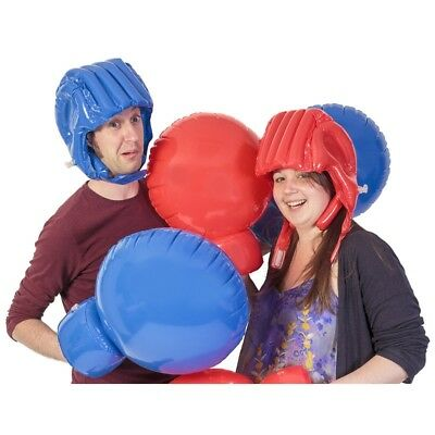 Inflatable Boxing Set - Giant Gloves Head Gear Helmet Family Game Christmas