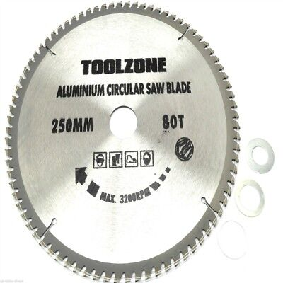 250mm Toolzone 80t Tct Circular Saw Blade - Teeth Blades 80 x Aluminium Disc
