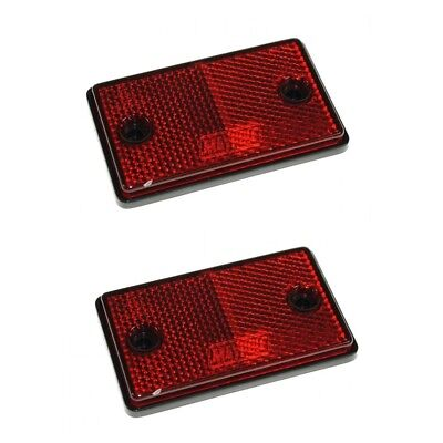 Reflectors - 2x Red Dp - 2x Eapproved Rectangular Trailer Caravan Side Marker