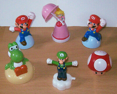 Mc Donalds 6 Figuren: Super Mario (2x), Luigi, Yoshi, Princess Peach + Pilz rot