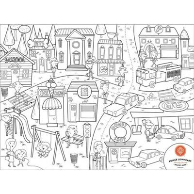 Prince Lionheart City Colour And Draw Placemat - Silicone 30cm x 40cm Wipe