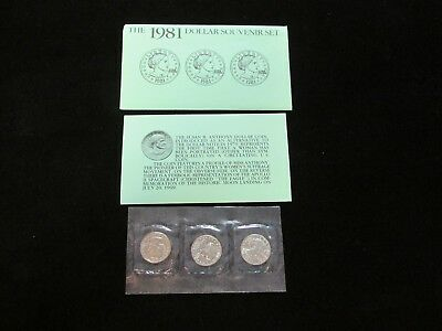 1981 Susan B. Anthony $1 Dollar Uncirc. 3 Coin Souvenir Set W/Coa's