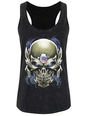 Requiem Collective Skull Guise Women's Black Acid Wash Racerback Vest