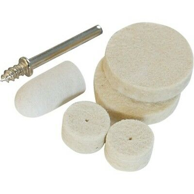6 Piece 10 13 & 22 Dia Felt Polishing Set - Rotary Tool Silverline 6pce 22mm