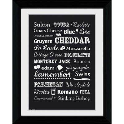 """Gb Eye """"cheese, Types"""" Framed Photograph, Multi-colour, 16 x 12-inch, Pack Of"""