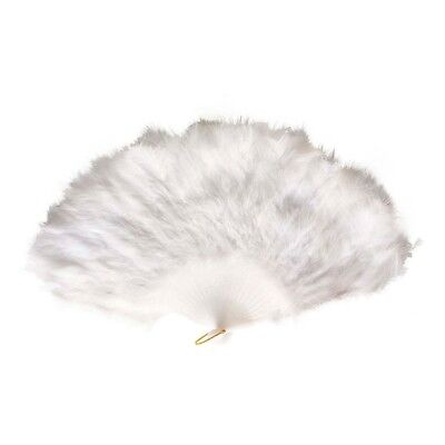 Ladies White Feather Fan - Hand Compartments Carnival Accessory
