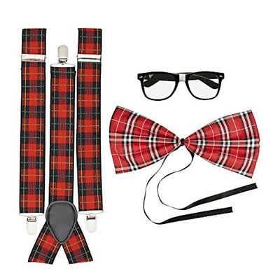 Black Geek Glasses Frame Red Braces Bow Tie 3 Pcs Nerd Kit Fancy Dress Set