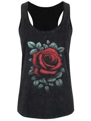 Requiem Collective Cardinal Rose Women's Black Acid Wash Racerback Vest