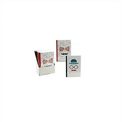 5 x 7 Bound Notebook With Moustache Designs - 2 Assorted Designs.