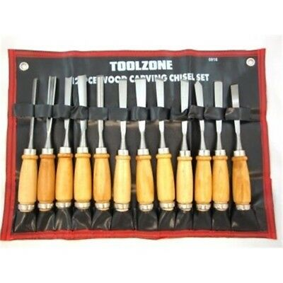 12 Piece Toolzone Standard Carving Chisel Set - Quality 12pc Chizel Woodworking