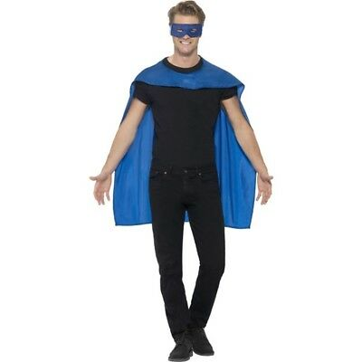 Smiffy's Men's Superhero Accessory Kit (blue) - Cape Fancy Dress Mask Mens