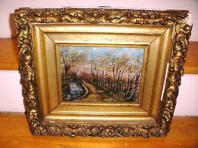 Nice Antique 19thc impressionist oil on canvas painting landscape mystery artist