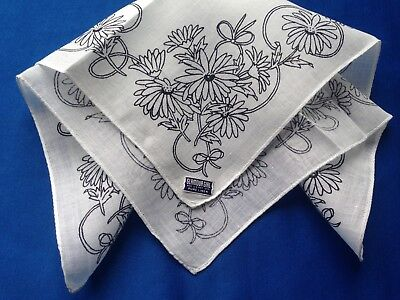 "Lovely Vintage Off White Woman's Linen  "" Glamour Girl Handkerchief with Tag"
