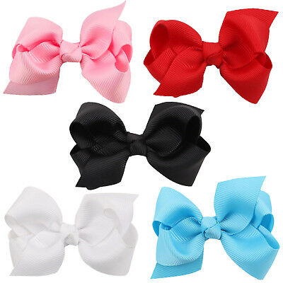 5Pcs Girl Baby Kids Bows Band Boutique Alligator Bow Hair Clip Grosgrain Ribbon